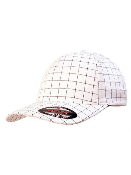 f55119fecdbb0a Flexfit Squareline Modell 9277 Baseball Caps in Weiß-Dunkelblau ...