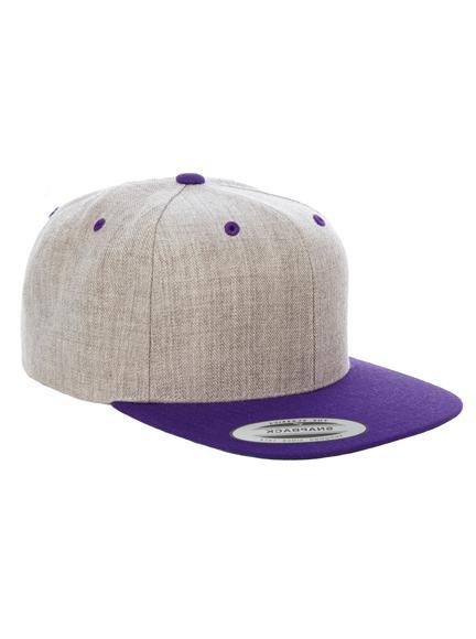 27687b3c2ae Yupoong 2 Tone Snapback Caps in Heather Grey-Purple - Snapback Cap