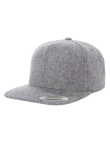 733a4d8f118660 Yupoong Melton Wool Modell 6689M Snapback Caps in Heather Grey ...